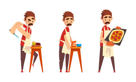 Moustached Male Pizza Maker in Apron Preparing Italian Pizza Kneading Dough and Cutting Ingredients Vector Set Vettoriali
