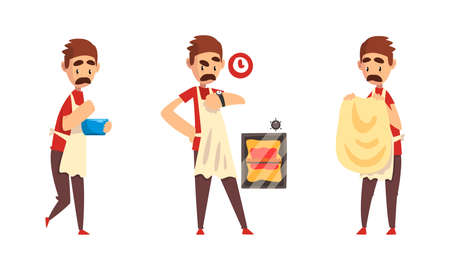Moustached Male Pizza Maker in Apron Preparing Italian Pizza Kneading and Forming Dough Vector Set