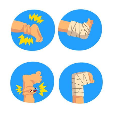 First Aid for Wounded Leg in Blue Circle Vector Set Vektorové ilustrace