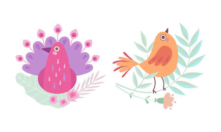 Cute Birdie Sitting in Nest of Floral Twigs Vector Set Vector Illustration
