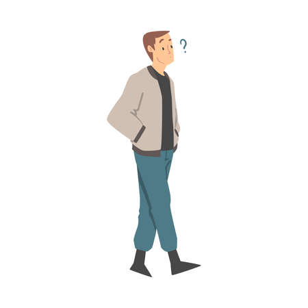 Thoughtful Man Character and Question Mark Thinking Over the Matter Vector Illustration