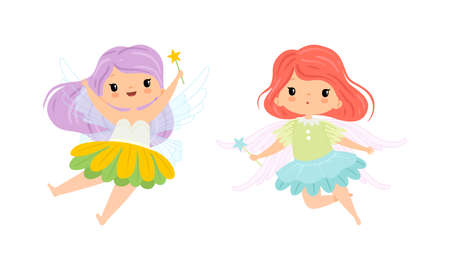 Cute Little Pixie Girl with Ethereal Wings Flying with Magic Wand Vector Set