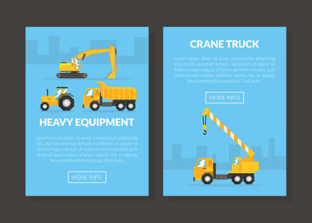 Construction Machinery and Heavy Equipment on Building Site Engaged in Earthwork Operation Vector Template