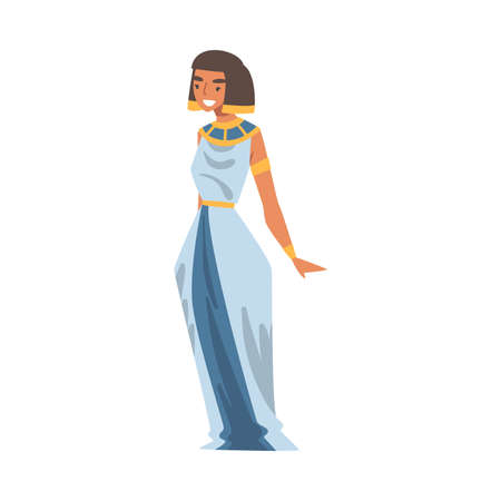 Egyptian Woman Character Wearing Authentic Garment and Neck Collar Vector Illustration