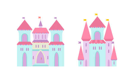 Princess Castle and Fortress with Tall Towers and Flags Vector Set