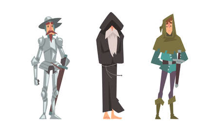 Medieval Warrior or Knight in Armor with Sword and Barefoot Wanderer in Hood Vector Set