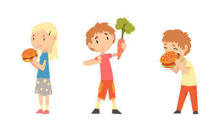 Little Girl with Hamburger and Boy Rejecting Eating Carrot Vector Set