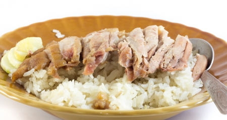 stewed pork leg on rice photo