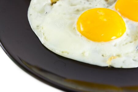 Fried egg on black plate Stock Photo - 18790903