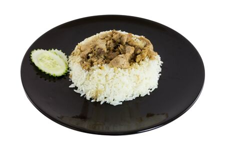Fried pork with garlic food in thailand photo