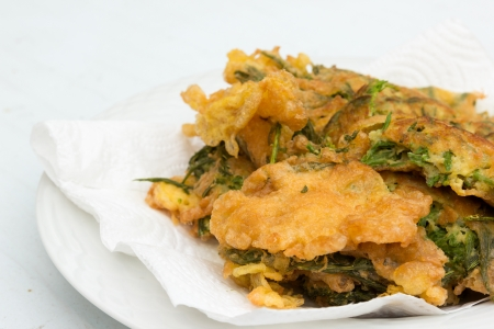 vibrat color: fried Cha Om food in Thailand Stock Photo