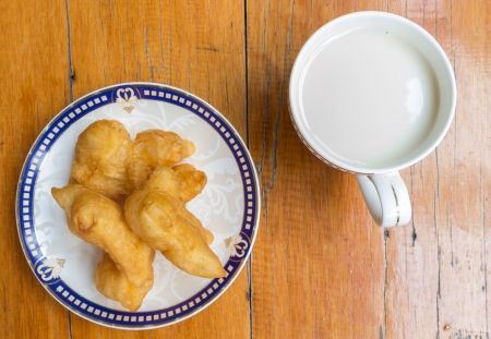Deep fried dough stick and soybean milk is Healthy food photo