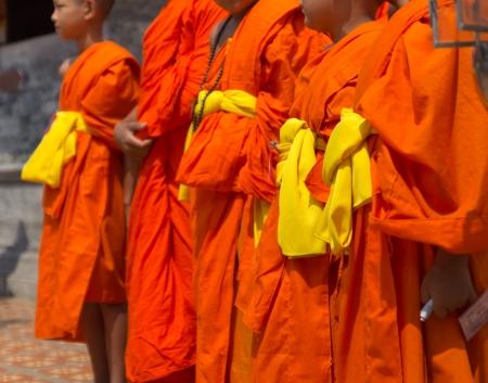 Yellow robe is wearing of Thai Priest. Editorial
