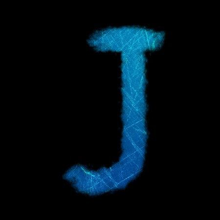 the image of English letters is light line on black background