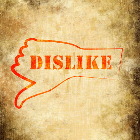 background image of the dislike on the old paper photo