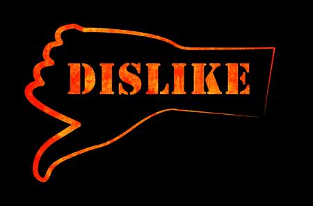 socialize: background image of the dislike on the black background