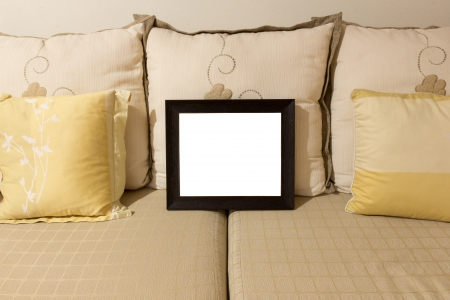 the picture frame on the sofa photo