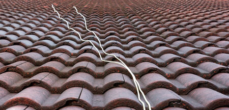 background, texture of red roof tile photo