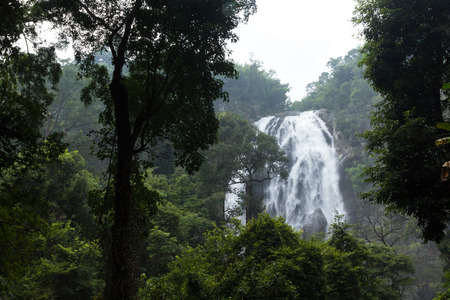 the waterfall with jungle is beatiful nature for the travel of the thailand photo