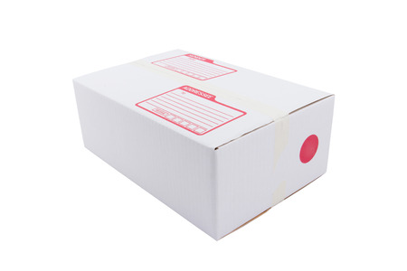 the isolated of the white box for packaging with shipping from post office photo
