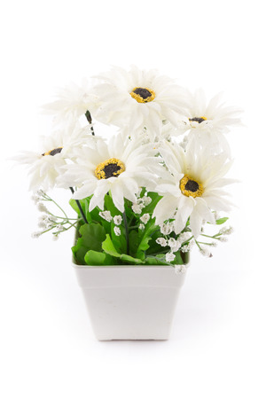 the isolated image of the fake flower with vase on white background photo
