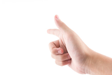 the isolated of the hand with pointing symbol is touch to screen on white background photo