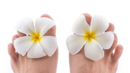 the isolated of the foot with frangipani flower in spa on white background photo