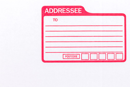 addressee: the isolated of the white box for packaging with shipping from post office