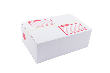 the isolated of the white box for packaging with shipping from post office