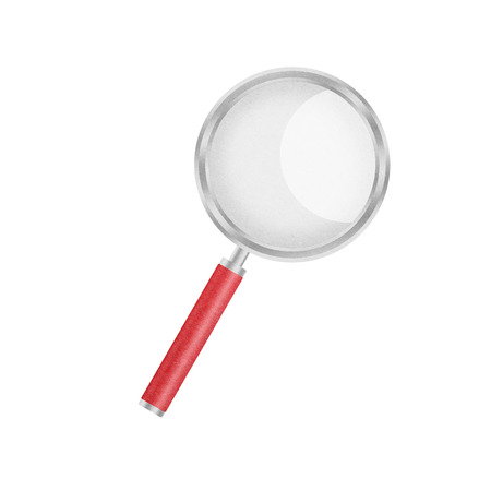the paper cut of magnifier glass is equipment icon for magnify and search photo