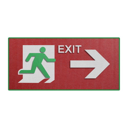 the paper cut of red run to exit label for emergency with escape sign from fire  photo