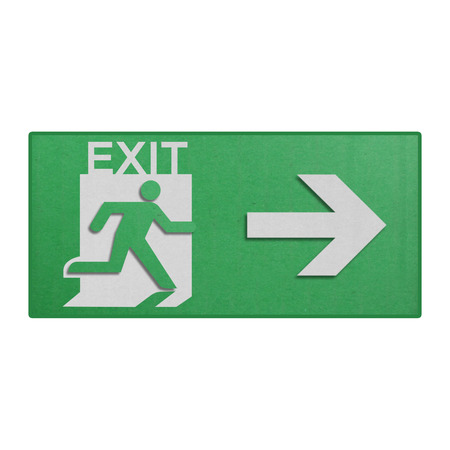 the paper cut of green run to exit label for emergency with escape sign from fire Stock Photo - 27319613