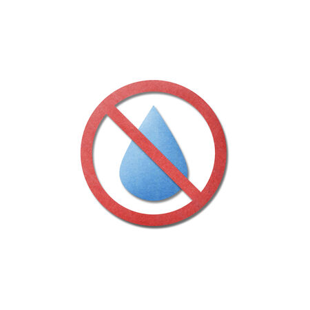 the paper cut pattern of no water, dry is drop stop icon on white