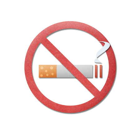 the paper cut pattern of no smoking is icon sign to smoke stop photo