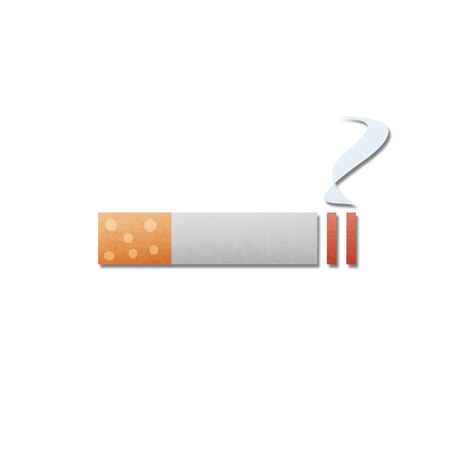 the paper cut pattern of cigarette with smoke is isolated icon on white background photo
