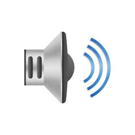 the paper cut of speaker volume icon with blue wave for communication design photo