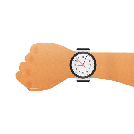 cut wrist: the paper cut of wristwatch on hand wrist for checking to time in business