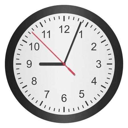 the paper cut of time clock, watch is number with hour hand and minute hand photo