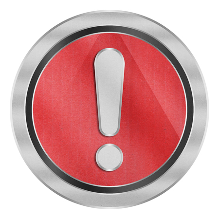 the paper cut of exclamation mark is alert symbol icon on red circle button for safety in emergency Stock Photo
