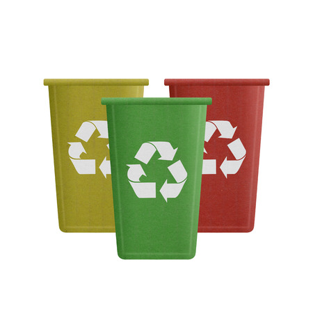 the paper cut of recycle bin is can recycling to garbage for environmental conservation symbol photo