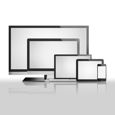 the isolated paper cut of tablet,smart tv, phone mobile, computer monitor with flat screen is modern display technology for digital electronic
