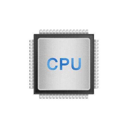 the isolated paper cut of cpu chip is central processor technology in circuit computer on motherboard Imagens