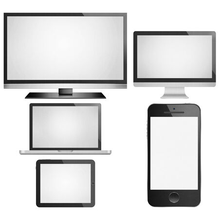 the isolated paper cut of tablet,smart tv, phone mobile, computer monitor with flat screen is modern display technology for digital electronic photo