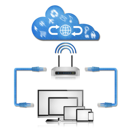 the isolated paper cut of network diagram in home from computer with router to cloud server for use to internet