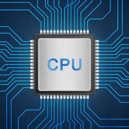 青い回路に cpu チップの絶縁紙のカットはマザーボード上の回路のコンピューター中央処理装置技術です。