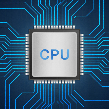 the isolated paper cut of cpu chip on blue circuit is central processor technology in circuit computer on motherboard