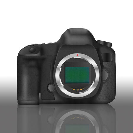 the paper cut of black slr digital camera isolated is body icon for professional photography technology in studio photo