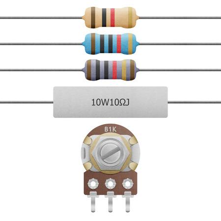 저항의 종이 잘라 4-6 밴드, 시멘트 저항과 가변 저항 흰색 배경에 회로에서 전기 및 전자에 장비 스톡 콘텐츠