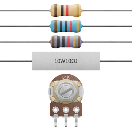 potentiometer: the paper cut of resistor 4-6 band, cement resistor and variable resistor is equipment for electrical and electronic in circuit on white background Stock Photo