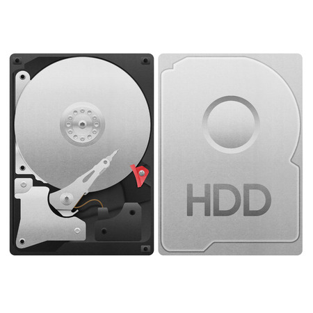 the paper cut of hard drive disk, hdd isolated is storage with data backup in computer and server for security on white background photo